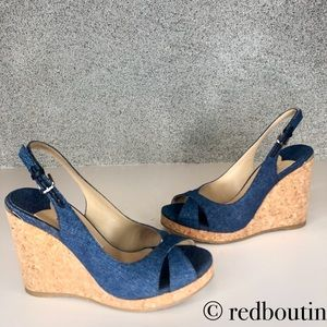 Brand new Jimmy Choo cotton denim wedge sandals